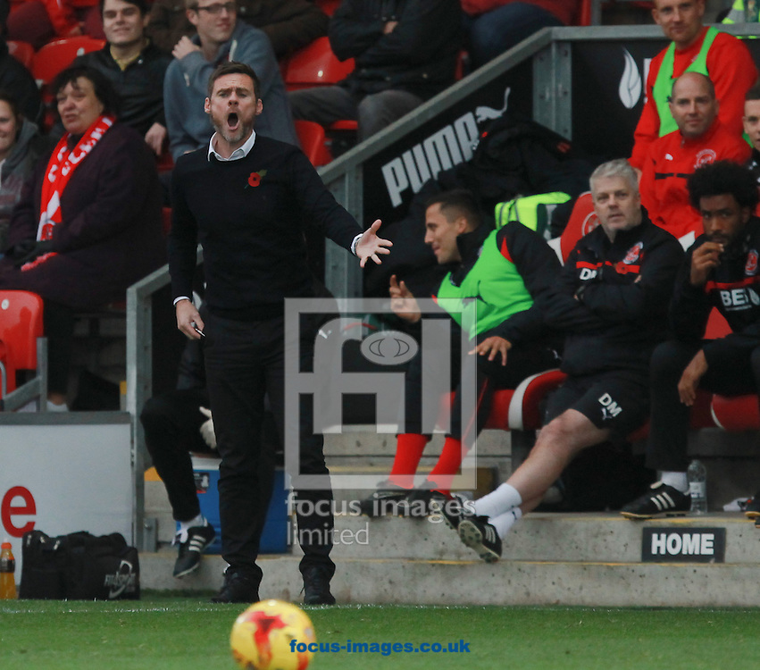 Graham Alexander, manager of Fleetwood Town during the Sky Bet League 1 match at the Highbury Stadium, Fleetwood<br /> Picture by John Rainford/Focus Images Ltd +44 7506 538356<br /> 01/11/2014
