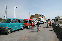 Tour buses on Inis Mor Aran Islands County Galway Ireland
