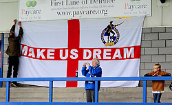 Bristol Rovers flags - Photo mandatory by-line: Neil Brookman/JMP - Mobile: 07966 386802 - 01/11/2014 - SPORT - Football - Telford - New Bucks Head Stadium - AFC Telford v Bristol Rovers - Vanarama Football Conference