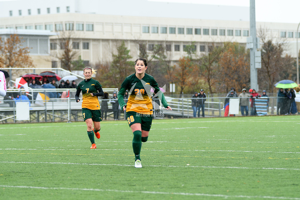 3rd year forward Brianna Wright (7) and 2nd year forward Sydney Langen (28) of the Regina Cougars in action during the Women's Soccer final home game on October 16 at U of R Field. Credit: Arthur Ward/Arthur Images