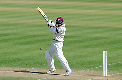 Somerset's Abdur Rehman cuts the ball off the bowling of Durham's Paul Coughlin.  - Photo mandatory by-line: Harry Trump/JMP - Mobile: 07966 386802 - 14/04/15 - SPORT - CRICKET - LVCC County Championship - Day 3 - Somerset v Durham - The County Ground, Taunton, England.