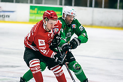 Blaz Tomazevic  of HDD Jesenice vs ROPRET Anže of HDD Olimpija during 500th derbi between HK SZ Olimpija Ljubljana vs HDD SIJ Acroni Jesenice  - AHL 2019/20, on the 26th of  Oktober, Ljubljana, Slovenia. Photo by Matic Ritonja / Sportida