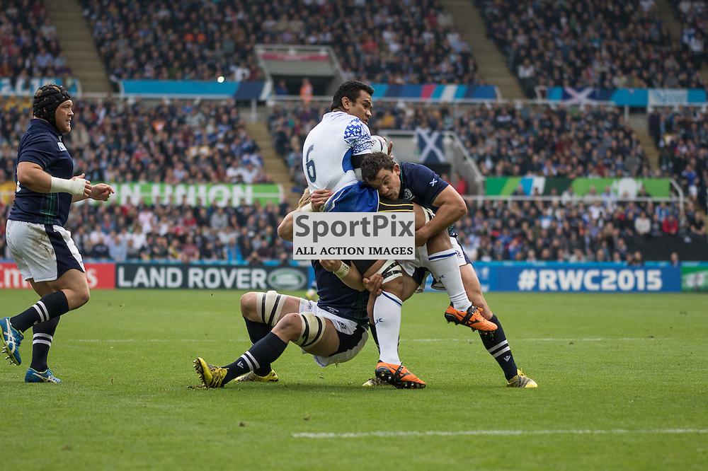 Scotland #7 John Hardie stops a Samoa attack. Scotland v Samoa, 10th October 2015