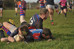Niall O'Malley gets over for Westport's 2nd try against Tuam in the Junior Cup semi-final. Pic Conor McKeown