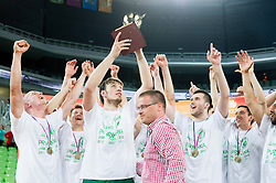 Matjaz Smodis and other players of Krka celebrate after winning the basketball match between KK Krka and KK Union Olimpija in 4th Final match of Telemach League 2012/13 on May 20, 2013 in Arena Stozice, Ljubljana, Slovenia. Krka defeated Union Olimpija third times and become Slovenian Champions 2013. (Photo By Vid Ponikvar / Sportida)