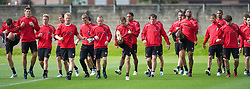 LIVERPOOL, ENGLAND - Wednesday, August 18, 2010: Liverpool's players during a training session at Melwood ahead of the UEFA Europa League Play-Off 1st Leg match against Trabzonspor A.S. L-R: Danny Wilson, captain Steven Gerrard MBE, Christian Poulsen, Milan Jovanovic,Dirk Kuyt, goalkeeper Martin Hansen, Jay Spearing, Joe Cole, Glen Johnson, Jamie Carragher, Sotirios Kyrgiakos, Ryan Babel, Nathan Eccleston. (Pic by: David Rawcliffe/Propaganda)