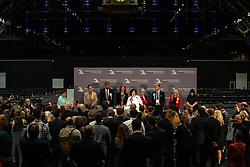© Licensed to London News Pictures . 26/05/2019. Manchester, UK. L-R winners CLAIRE FOX (Brexit Party), CHRIS DAVIES (Liberal Democrats), HENRIK NIELSEN (Brexit Party), GINA DOWDING (Green Party), THERESA GRIFFIN (Labour Party), JULIE WARD (Labour Party), DAVID BULL (Brexit Party), JANE BROPHY (Liberal Democrats) . The count for seats in the constituency of North West England in the European Parliamentary election , at Manchester Central convention centre . Photo credit: Joel Goodman/LNP
