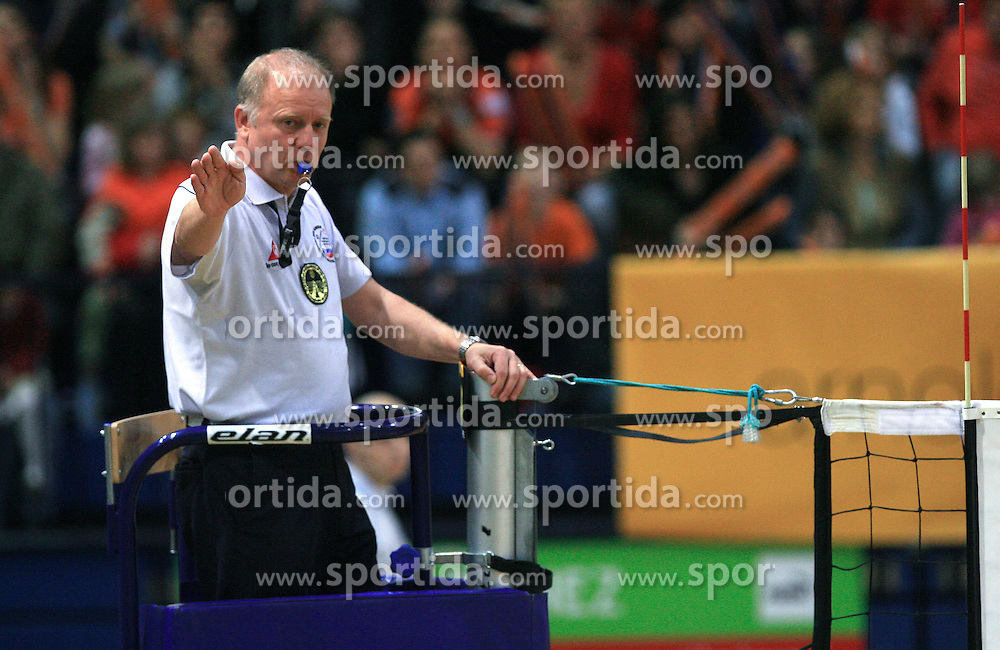 Referee David Miklosic at last final volleyball match of 1.DOL Radenska Classic between OK ACH Volley and Salonit Anhovo, on April 21, 2009, in Arena SGS Radovljica, Slovenia. ACH Volley won the match 3:0 and became Slovenian Champion. (Photo by Vid Ponikvar / Sportida)
