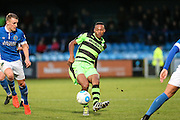 Forest Green Rovers Ethan Pinnock(16) plays a pass during the Vanarama National League match between Macclesfield Town and Forest Green Rovers at Moss Rose, Macclesfield, United Kingdom on 12 November 2016. Photo by Shane Healey.