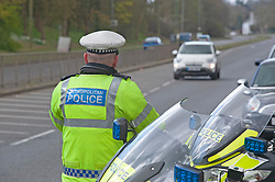 ©Licensed to London News Pictures 31/03/2020  <br /> Bexley, UK. Motorcycle Met police officer carrying out speed checks and covid19 checks near Bexley Village, Bexley, Greater London. The Prime Minister Boris Johnson has asked people to stay at home to help in the fight against Covid-19 and to only go out for essential reasons. credit:Grant Falvey/LNP