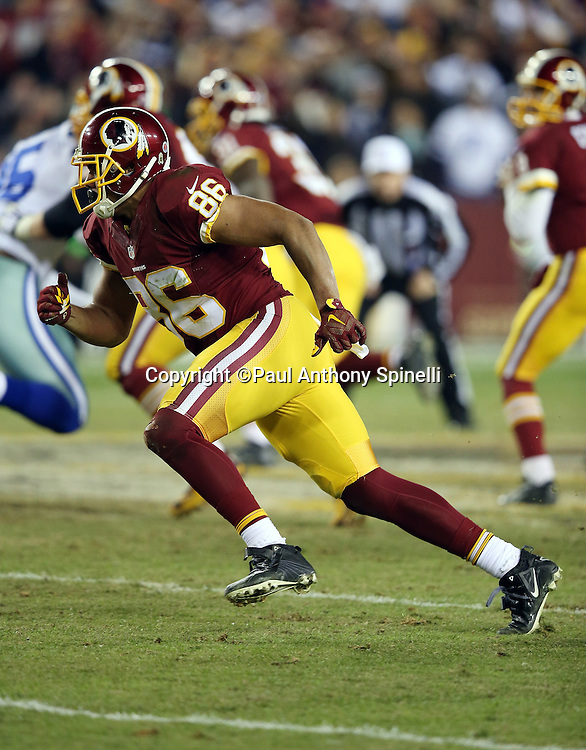 Washington Redskins tight end Jordan Reed (86) goes out for a pass during the 2015 week 13 regular season NFL football game against the Dallas Cowboys on Monday, Dec. 7, 2015 in Landover, Md. The Cowboys won the game 19-16. (©Paul Anthony Spinelli)