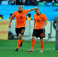 Durban World Cup 2010  Holland v Japan  Match 25 19/06/10<br /> Wesley Sneijder   (NED) is congratulated by  Nigel de Jong after first goal<br /> Photo Roger Parker Fotosports International