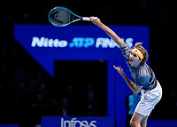 Tennis - 2019 Nitto ATP Finals at The O2 - Day Seven<br /> <br /> Semi Finals: Dominic Thiem (Austria) Vs. Alexander Zverev (Germany)<br /> <br /> Alexander Zverev (Germany) serves<br /> <br /> COLORSPORT/DANIEL BEARHAM<br /> <br /> COLORSPORT/DANIEL BEARHAM