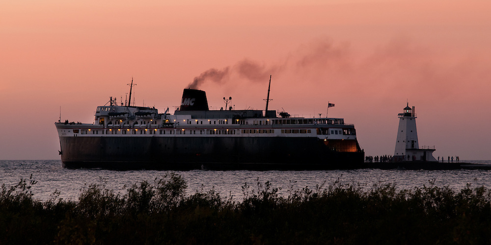 Carferry SS Badger leaving Ludington for Wisconsin