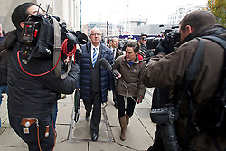 "© London News Pictures.  18/11/2013. London, UK. Ex-Labour minister DENIS MACSHANE leaving The Old Bailey after pleading guilty to making nearly £13,000 of bogus expenses claims. The ex-MP admitted false accounting by putting in fake receipts for £12,900 for ""research and translation"" services. Photo credit : Ben Cawthra/LNP"