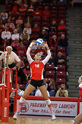 29 October 2011: Kaitlyn Early sets During a match between the Creighton Bluejays and the Illinois State Redbirds at Redbird Arena in Normal Illinois