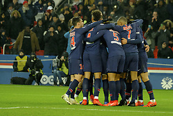 January 19, 2019 - Paris, Ile de France, France - Joy of Paris SG Team after scored the eighth goal during the French championship League 1 Conforama match Paris SG against EA Guingamp at the Parc des Princes Stadium in Paris - France..Paris SG won 9-0 (Credit Image: © Pierre Stevenin/ZUMA Wire)