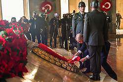 November 10, 2018 - Ankara, Turkey - Turkey's President Recep Tayyip Erdogan attends a ceremony at the mausoleum of Mustafa Kemal Ataturk, the founder of modern Turkey, to commemorate his 80th death anniversary in Ankara, Turkey, Nov. 10, 2018. (Credit Image: © Depo Photos via ZUMA Wire)