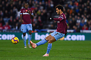 Felipe Anderson of West Ham United (8) passes the ball forward during the Premier League match between Huddersfield Town and West Ham United at the John Smiths Stadium, Huddersfield, England on 10 November 2018.