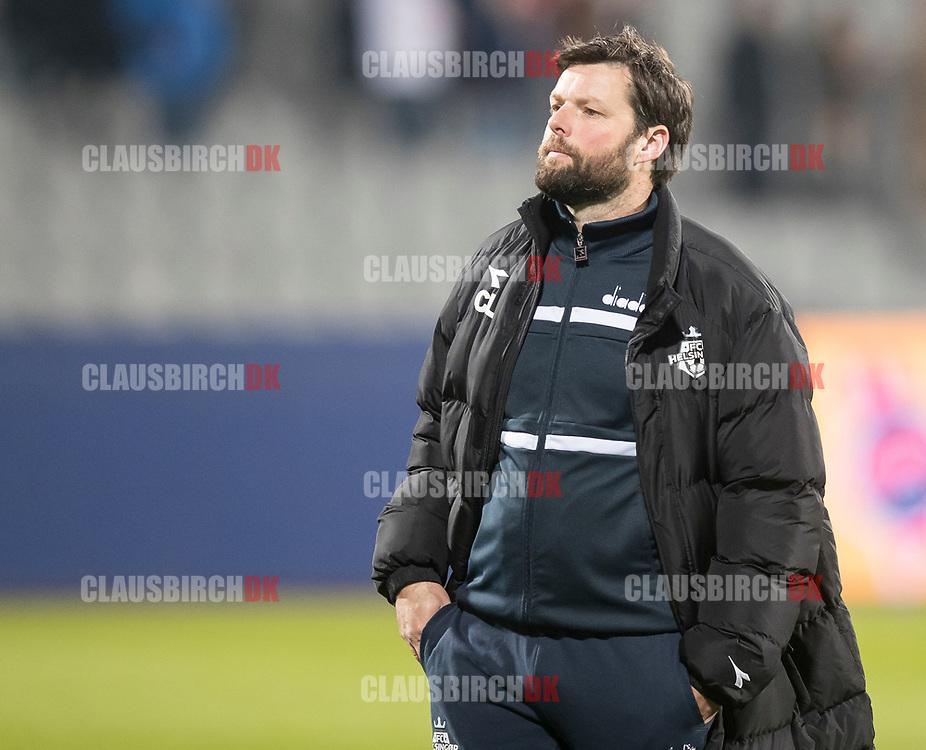 FODBOLD: Cheftræner Christian Lønstrup (FC Helsingør) efter kampen i ALKA Superligaen mellem AGF og FC Helsingør den 13. april 2018 i Ceres Park. Foto: Claus Birch.