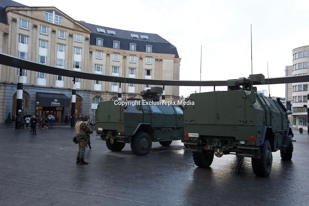 Nov. 23, 2015 - Brussels, BELGIUM - 20151122 - BRUSSELS, BELGIUM: <br /> <br />  soldiers at Bruxelles Central-Brussel Centraal railway station , Sunday 22 November 2015, in Brussels. The terrorist threat level was updated to level four, the maximum, in Brussels region, and stays at level three for the rest of the country. Shopping center, main shopping streets, subways and public events are closed and cancelled for the week-end because of the terrorist threat level four.<br /> ©Exclusivepix Media
