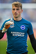Jason Steele (GK) (Brighton) after warming up before the Premier League match between Brighton and Hove Albion and Southampton at the American Express Community Stadium, Brighton and Hove, England on 24 August 2019.