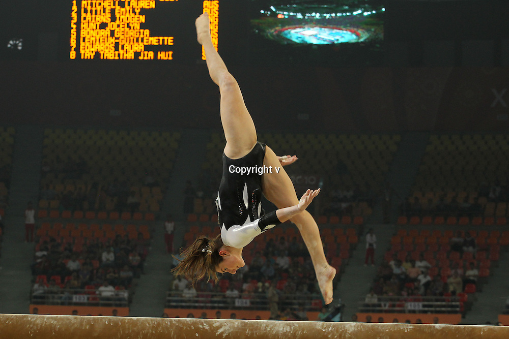 Jordan Rae of New Zealand during the women's individual all round gymnastics competition held at the Indira Gandhi Sports Complex in New Delhi, India on the 6 October 2010<br /> <br /> Photo by:  Ron Gaunt/SPORTZPICS/PHOTOSPORT