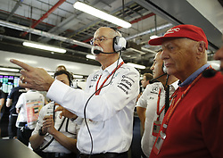November 25, 2017 - Abu Dhabi, United Arab Emirates - Motorsports: FIA Formula One World Championship 2017, Grand Prix of Abu Dhabi, .. Dr. Dieter Zetsche (Chairman of the Board of Management of Daimler AG, Head of Mercedes-Benz Cars),  Bodo Uebber (GER), Niki Lauda (AUT, Mercedes AMG Petronas Formula One Team) (Credit Image: © Hoch Zwei via ZUMA Wire)