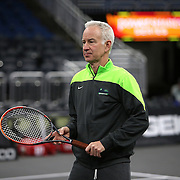 Tennis legend John McEnroe is seen during warmups of the PowerShares Tennis Series event at the Amway Center on January 5, 2017 in Orlando, Florida. (Alex Menendez via AP)