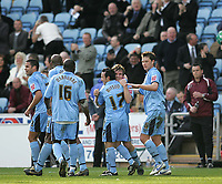 Photo: Lee Earle.<br /> Coventry City v Barnsley. Coca Cola Championship. 17/03/2007.Coventry's Jay Tabb (2ndR) is congratulated after scoring their first.