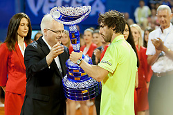 Ivo Josipovic and Pablo Cuevas of Uruguay during flower ceremony after final of singles at 25th Vegeta Croatia Open Umag, on July 27, 2014, in Stella Maris, Umag, Croatia. Photo by Urban Urbanc / Sportida