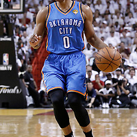 19 June 2012: Oklahoma City Thunder point guard Russell Westbrook (0) is seen during the first quarter of Game 4 of the 2012 NBA Finals, Thunder at Heat, at the AmericanAirlinesArena, Miami, Florida, USA.