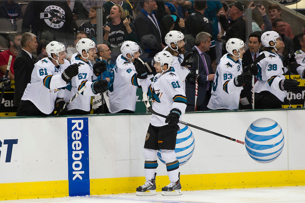 DALLAS, TX - OCTOBER 17:  Tyler Kennedy #81 of the San Jose Sharks celebrates after a Sharks goal against the Dallas Stars on October 17, 2013 at the American Airlines Center in Dallas, Texas.  (Photo by Cooper Neill/Getty Images) *** Local Caption *** Tyler Kennedy