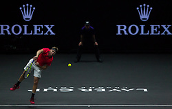 September 23, 2017 - Prague, Czech Republic - Team World player Jack Sock of United States serves against Team Europe player Rafael Nadal of Spain during the first day at Laver Cup on Sept 23, 2017 in Prague, Czech Republic.  The Laver Cup consists of six European players competing against their counterparts from the rest of the World. Europe will be captained by Bjorn Borg and John McEnroe will captain the Rest of the World team. The first Laver Cup held in Europe, at the O2 arena Prague from September 22-24, 2017. (Credit Image: © Robert Szaniszlo/NurPhoto via ZUMA Press)