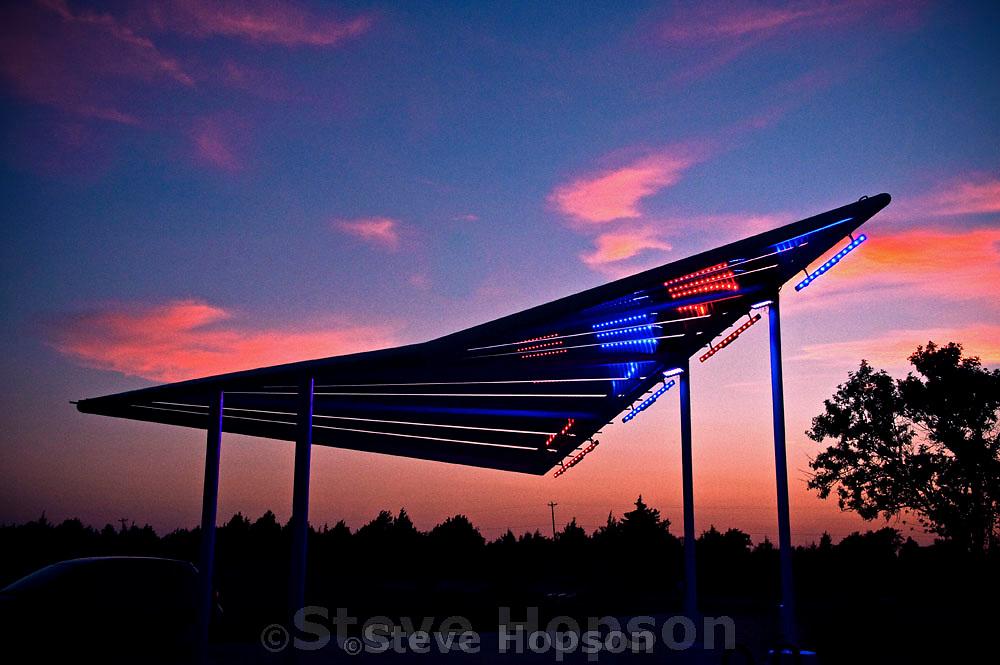 Solar Sail EV Charging Station, Renewable Energy Park, Pflugerville, Texas, August 6, 2012.