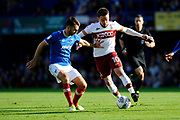 Tareiq Holmes-Dennis (3) of Portsmouth battles for possession with Paul Taylor (10) of Bradford City during the EFL Sky Bet League 1 match between Portsmouth and Bradford City at Fratton Park, Portsmouth, England on 28 October 2017. Photo by Graham Hunt.