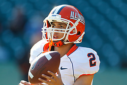 Dec 31, 2011; San Francisco CA, USA; Illinois Fighting Illini quarterback Nathan Scheelhaase (2) warms up before the game against the UCLA Bruins at AT&T Park. Illinois defeated UCLA 20-14. Mandatory Credit: Jason O. Watson-US PRESSWIRE