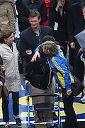 April 14, 2014 - Boston, Massachusetts, USA - <br /> <br /> Boston Marathon Bombing Anniversary<br /> <br /> Hundreds gather at the Boston Marathon finish line in Boston, Massachusetts to mark the one year anniversary of the Boston Marathon Bombing. United States Vice President Joe Biden attended the event. Bombing Survivor Erika Brannock receives a hug from her mother Carol Downing as she crosses the finish line. Erika was injured by the first blast as she was waiting at the finish line to cheer her mother Carol Downing on. <br /> ©Exclusivepix