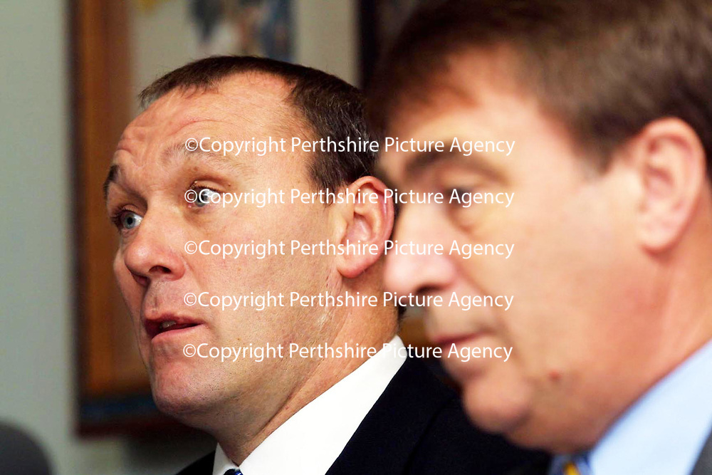 St Johnstone FC press conference after the publication of the SPL's findings into the Kevin Thomas and George O'Boyle drug mis-use..Pictured Chairman Geoff Brown and Manager Sandy Clark<br /> <br /> Pic by Graeme Hart<br /> Copyright Perthshire Picture Agency<br /> Tel: 01738 623350 / 07990 594431