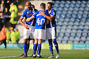 GOAL celebrations from Ian Henderson penalty 1-0 during the EFL Sky Bet League 1 match between Rochdale and Bury at Spotland, Rochdale, England on 15 October 2016. Photo by Daniel Youngs.