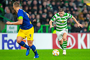 James Forrest (#49) of Celtic FC runs at the Leipzig defence during the Europa League group stage match between Celtic and RP Leipzig at Celtic Park, Glasgow, Scotland on 8 November 2018.