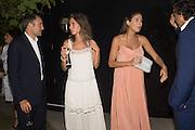 Ben Goldsmith: Jemima Jones; Quentin Jones: MARK WADHWA, , Serpentine's Summer party co-hosted with Christopher Kane. 15th Serpentine Pavilion designed by Spanish architects Selgascano. Kensington Gardens. London. 2 July 2015.