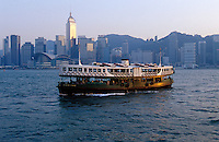 The Star Ferry crosses Victoria Harbour from Hong Kong Island to Kowloon, Hong Kong, China.