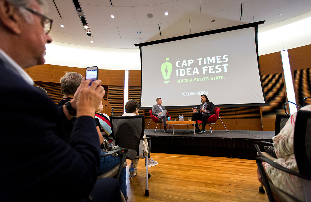 Dan Brown, right, from Ho-Chunk Gaming Madison speaks with moderator Jason Joyce during the Cap Times 2017 Idea Fest, Saturday, September 16, 2017