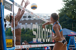 Anna Vozakova of Russia vs Andreja Vodeb of Slovenia at A1 Beach Volleyball Grand Slam presented by ERGO tournament of Swatch FIVB World Tour 2012, on July 17, 2012 in Klagenfurt, Austria. (Photo by Matic Klansek Velej / Sportida)