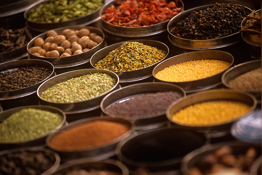 Spices on display at a south Delhi market