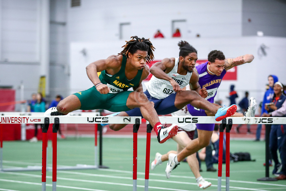 mens 60 meter hurdles prelim, Nick Corbin, George Mason<br /> Boston University Scarlet and White<br /> Indoor Track & Field, Bruce LeHane