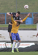 Dundee's Declan Gallagher out jumps Cowdenbeath's Kane Hemmings - Cowdenbeath v Dundee, SPFL Championship at Central Park<br /> <br />  - &copy; David Young - www.davidyoungphoto.co.uk - email: davidyoungphoto@gmail.com