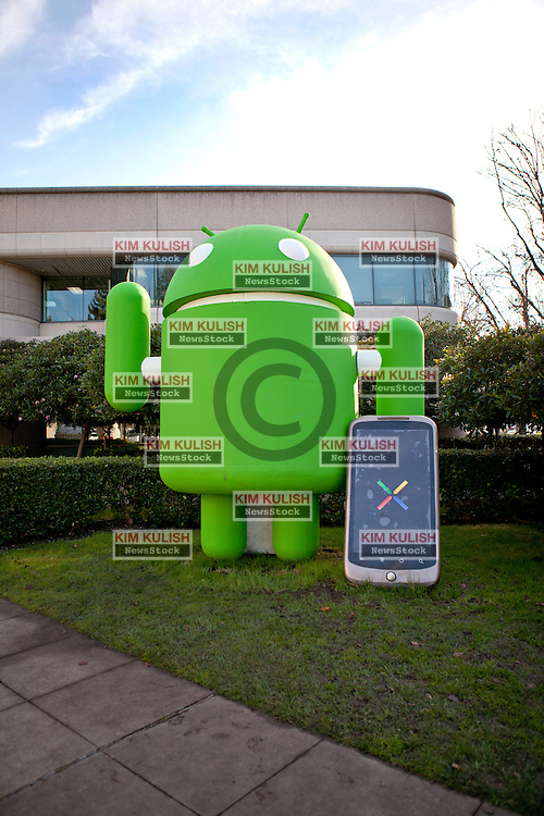 Statues representing the operating system names of the Android OS on display in Building 44 at Google Inc. in Mountain View, California.