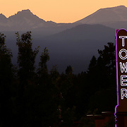 The Tower Theatre at sunset in Bend, Oregon.